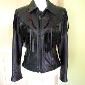 VINTAGE 80's PROTECH Black Leather Fringe Jacket
